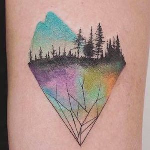 Ah, so that's what is under the earth. Tattoo by Jasper Andres. #JasperAndres #geometry #nature #mountain #trees #heart