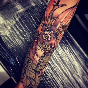 Jackalope tattoo by Tom Bartley. #TomBartley #jackalope #fable #imaginary #animal #antler #rabbit #neotraditional