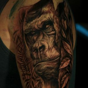 Realistic ape tattoo by James Strickland #ape #animal #realism #realistic #jamesstrickland #blackandgrey