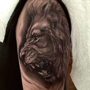 Roaring lion by Jamie Mahood. #blackandgrey #realism #JamieMahood #lion #bigcat #feline