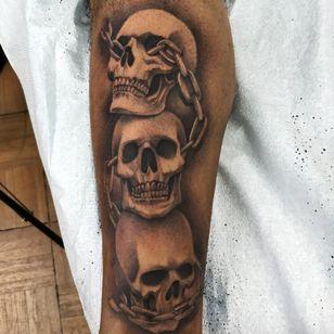 A line of skulls by Nene. (Via IG - tat2nene) #nene #tat2nene #blackandgrey