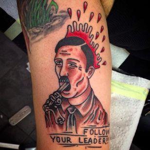 Hitler suicide by Jorge Ramirez (via IG -- jorgeramireztattoo) #jorgeramirez #antiracist #antiracisttattoo #antiracism #antiracismtattoo