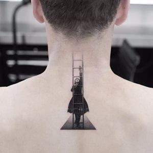 Reach higher by Oscar Akermo #oscarakermo #blackandgrey #realism #realistic #hyperrealism #surreal #lady #ladder #positivity #girl #portrait #tattoooftheday