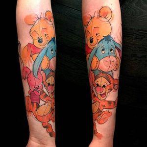 'Winnie the Pooh' tattoo by rzychu, via Instagram. #sketch #watercolor #baby #winniethepooh #pooh #poohbear #nostalgia #children #tvshow #cartoon #book #rzychu