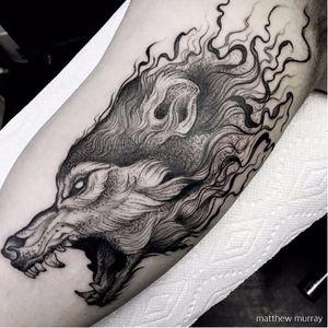 Stunning wolf tattoo by Matthew Murray #MatthewMurray #blackwork #blackandgrey #monochrome #gothic #wolf