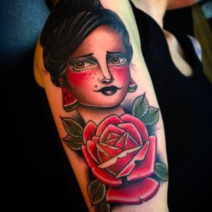 Girl and Rose Tattoo by Cedric Weber @Cedric.Weber.Tattoo #CedricWeberTattoo #GreyhoundTattoo #GirlTattoo #Rose #Girl #Lady #Woman #Germany