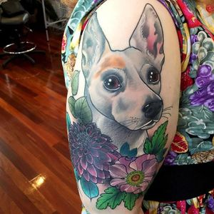 Sweet dog portrait and flower half sleeve. #KittyDearest #neotraditional #dog #flowers #flora #botanical #animal