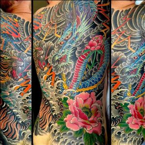 Epic battle between a Bengal tiger and horned dragon by Mike Rubendall (Instagram @mikerubendall). #dragon #flower #japanese #lightning #tiger #thunderstorm #waves