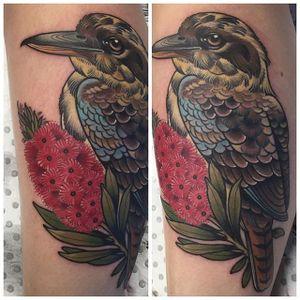 Neo traditional kookaburra tattoo by Ebony Mellowship. #neotraditional #EbonyMellowship #bird #flower #kookaburra