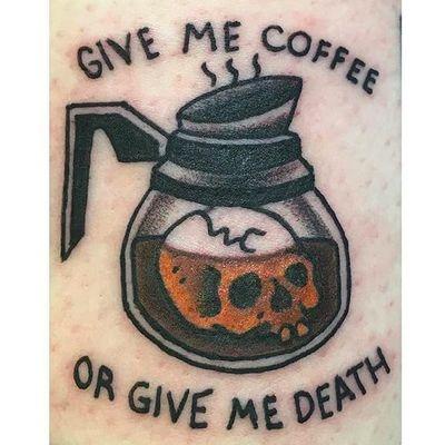 Reasonable request. By Carlos Gonzales (via IG -- southwaterstudios) #carlosgonzales #coffee #coffeepot #coffeetattoo #coffeepottattoo