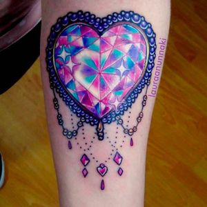 Sparkling Crystal Heart Tattoo by Laura Anunnaki @anunnakitattoo #LauraAnunnaki #Anunnakitattoo #Crystal #Diamond #Heart #CrystalHeartTattoo #DiamondHeartTattoo