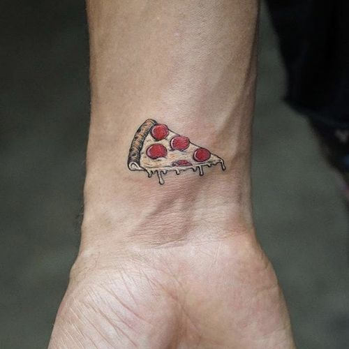 Pizza by Mr.K #Mr.K #color #micro #pizza #pepperoni #tattoooftheday