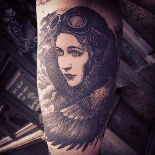 Amelia Earhart tattoo by Jean-Luc Navette. #JeanLucNavette #blackwork #vintage #gothic #AmeliaEarhart #icon #iconicwomen