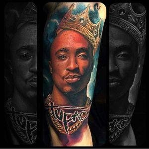 Tupac Shakur tattoo by Julian Siebert. #2pac #TupacShakur #rapper #portrait #JulainSiebert