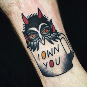 Devil in a mug tattoo. #Cooley #MattCooley #devil #traditional #mug