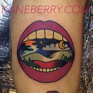 Open wide and let's take a look inside... Tattoo by Kane Berry. #lips #mouth #nightscene #landscape #traditional #KaneBerry