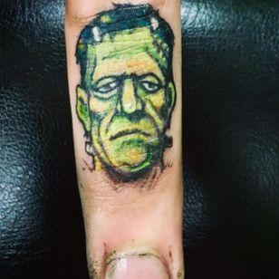 Jack Davis Frankenstein finger tattoos by Allan Graves #AllanGraves #haunted #horror #frankenstein #monster