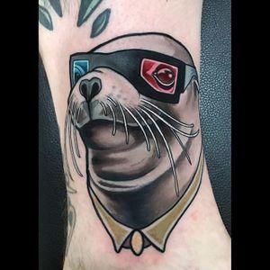 The nerdiest sea lion in the ocean by Brian Povak (IG—brian_povak). #animalheads #BrianPovak #critters #neotradition #nerdy #sealion