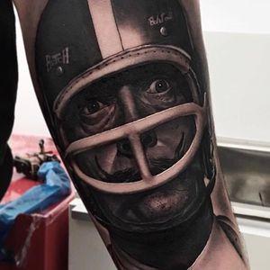 Dali tattoo by Jumilla Olivares #JumillaOlivares #blackandgrey #realistic #portrait #Dali #americanfootball
