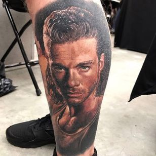 The one and only Jean Claude Van Damme! Tattoo by Steve Butcher. (Via IG - stevebutchertattoos) #SteveButcher #colorrealism #JCVD
