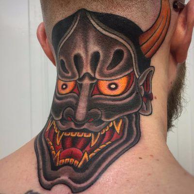 Hannya by Graham Beech #GrahamBeech #Japanese #color #Hannya #Hannyamask #nohmask #demon #folklore #deity #yokai #ghost #mask #horns #fangs #tattoooftheday