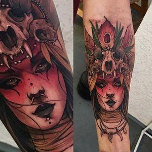 Witch doctor portrait tattoo by Matt Tischler. #MattTischler #neotraditional #portrait #woman #fierce #tribal #animalskull #tribe #witchdoctor