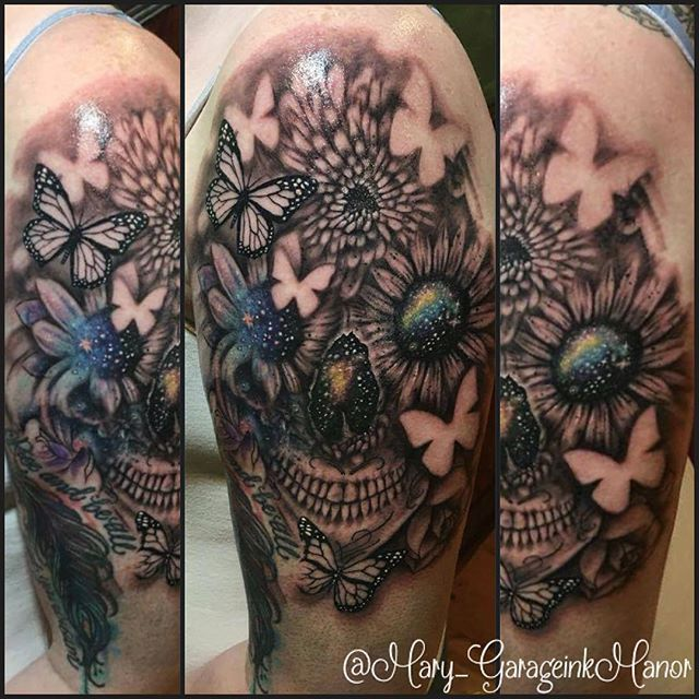 Abstract flower and butterfly skull tattoo by Miss Mary. #blackandgrey #skull #flower #butterfly #MissMary