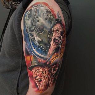Horror movies tattoo by Sergey Shanko #SergeyShanko #realistic #photorealistic #portrait #horror #jason #FreddyKrueger