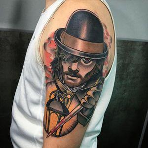 Jack the Ripper tattoo by Debora Cherrys. #JacktheRipper #serialkiller #history #england #london #killer #neotraditional