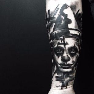 Clown tattoo by Beppe Lazzari #BeppeLazzari #trashstyle #graphic #trashpolka #clown