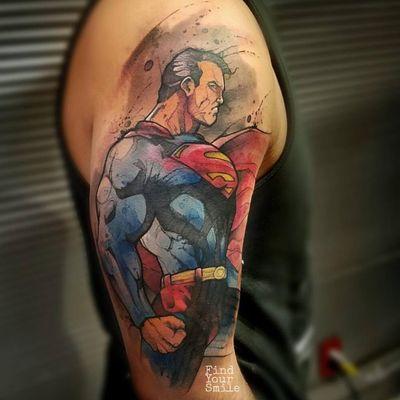 Superman #RussellVanSchaick #LigadaJustiça #JusticeLeague #movie #filme #comic #hq #cartoon #nerd #geek #dc #superman #ClarkKent #aquarela #watercolor