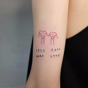 'nuff said by Victor Zabuga #VictorZabuga #color #blackwork #linework #text #quote #font #simple #minimal #love #minimalist #hearts #coupletattoo #couple #tattoooftheday