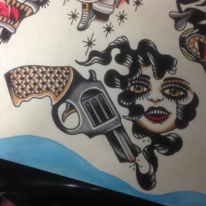 Sharp Shooter by Shaun Bailey (via IG-bailey_tattooer) #flashfriday #flashart #fineart #flash #carnival #shaunbailey