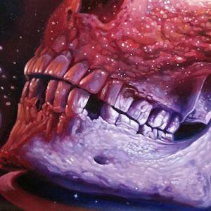 A closeup of Christian Perez's galactic skull painting (IG—christian1perez). #ChristianPerez #fineart #galaxy #oilpaintings #skulls