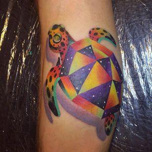 Turtle Tattoo by Ilona Kochetkova #AbstractTattoo #GraphicTattoos #ModernTattoos #ColorfulTattoos #BirghtTattoos #Minsk #ModernTattooArtists #IlonaKochetkova