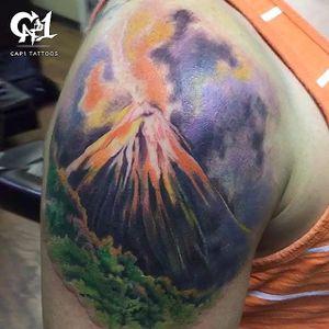 Volcano by Capone (via IG -- tattoosbycapone) #capone #volcano
