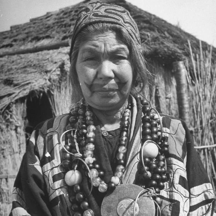 Ainu Woman, unknown photographer #Japanese #Tattooed #Ainu #Woman #Ainuwoman #Japan #tradition