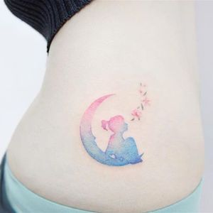 Moon Girl by Banul (via IG-tattooist_banul) #girl #flowers #pastel #moon #space #delicate #tiny #Banul