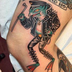 Rob Halfrog by Greg Whitehead (Greggletron) #RobHalfrog #GregWhitehead #greggletron #traditional #tattoooftheday