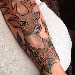 Deer tattoo by Dawnii Fantana. #Disney #cute #girly #kawaii #deer