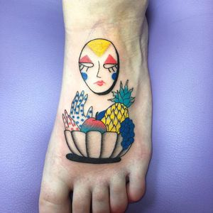 It takes all kinds of fruit to make fruit cup. Tattoo by Albie #Albie #Albiemakestattoos #foodtattoos #mask #color #popart #graphicart #illustrative #fruit #pineapple #apple #grape #fruit #hands #spots