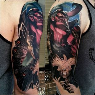 Hellboy Tattoo by Christopher Bettley #Hellboy #Portrait #PortraitTattoos #ColorPortraits #PortraitRealism #ChristopherBettley