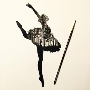 A ballerina with forest in her frame by Sake (IG—sakestc). #ballerina #fineart #landscape #Sake #silhouettes
