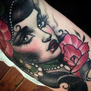 Sophisticated Girl's Head Tattoo by Ly Aleister @Lyaleister #Lyaleister #LyAlistertattoo #Girls #Girl #Girltattoo #Neotraditional #Neotraditionaltattoo #Brisbane #Australia