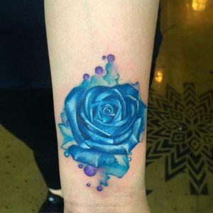 Watercolor rose tattoo by June Jung. #watercolor #flower #rose #JuneJung #bluerose