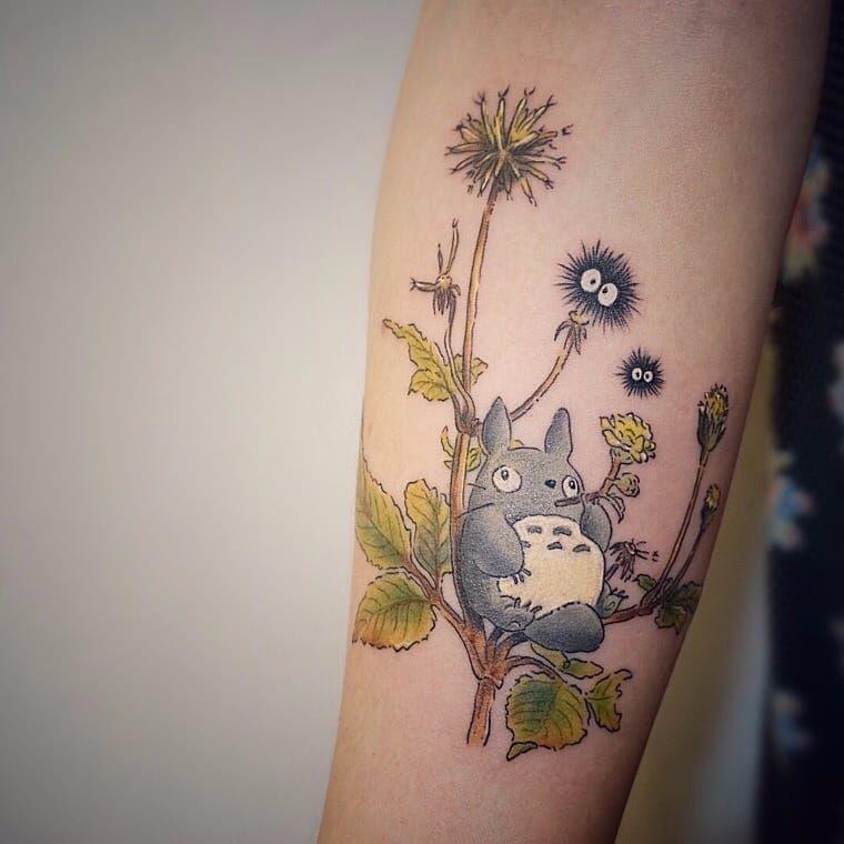 Totoro tattoo by Tattooist G. NO. #TattooistGNO #GNO #GNOtattoo #fineline #pastel #watercolor #myneighbortotoro #totoro