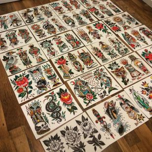 Traditional tattoo flash by Sam Ricketts, photo from Sam's Instagram. #flash #flashsheet #traditional #oldschool #art #painting #drawing