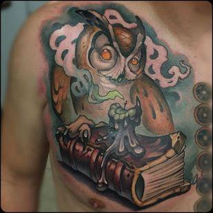 Owl Tattoo by William Volz #owl #owltattoo #newschoolowl #newschool #newschooltattoo #newschooltattoos #newschoolartist #WilliamVolz
