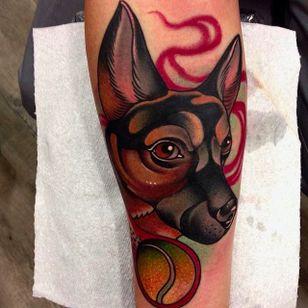 Dog tattoo by Manu Cruz #neotraditional #dog #tattoo #ball #ManuCruz