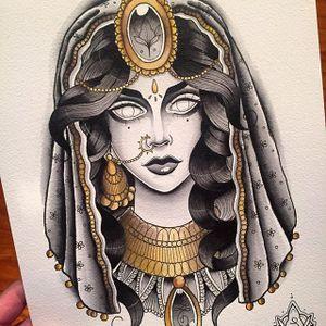 Sorceress by Stephanie Houldsworth #flashart #flash #flashfriday #blackandgrey #gold #traditional #witch #sorceress #veil #StephanieHouldsworth